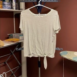 Stripped Front Tie Cropped Shirt